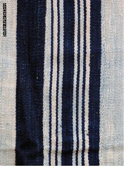 Vintage Indigo strip-weave cotton blanket