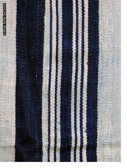Vintage Indigo strip-weave cotton blanket