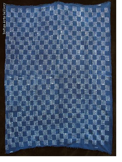 Vintage Indigo resist-dyed strip-weave cotton cloth