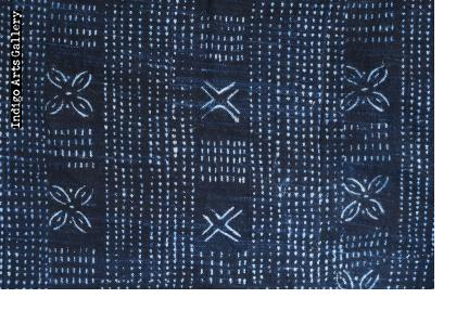 Indigo resist-dyed strip-weave cotton cloth