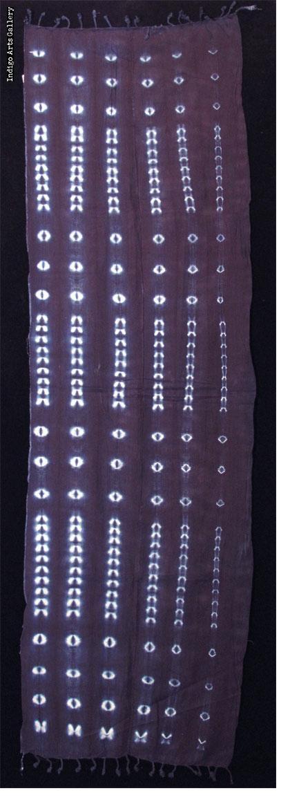 Burkina Indigo stitch resist-dyed strip-weave Cotton Scarf