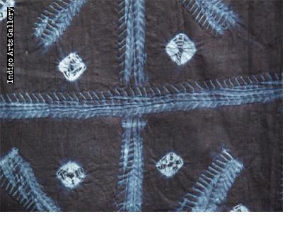 """Yoruba adire oniko and alabere """"fish-bone"""" pattern Indigo Cloth"""