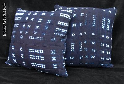 Indigo Tie-dye Pillow from Burkina Faso