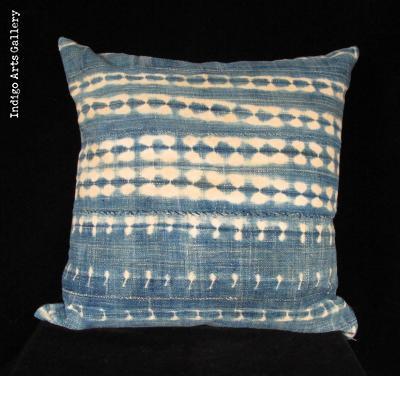 Vintage Indigo Tie-dye Pillow from Burkina Faso