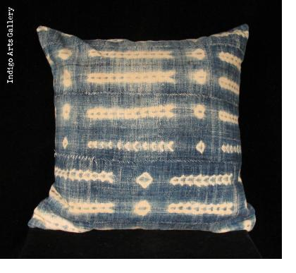Vintage Indigo Tie-dye Pillow from Burkina Faso