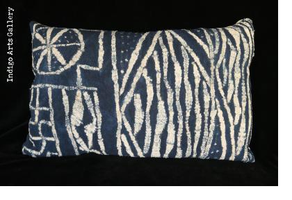 "Vintage Indigo Resist-dye ""Ndop"" Cloth Pillow from Cameroon"