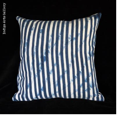 Vintage Indigo Strip-weave Baule Cloth Pillow