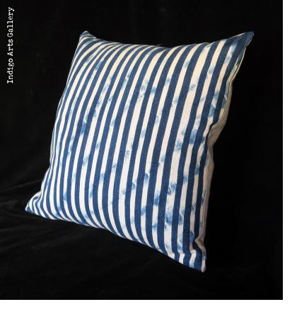 Vintage Indigo Strip-weave Baule Cloth Pillow