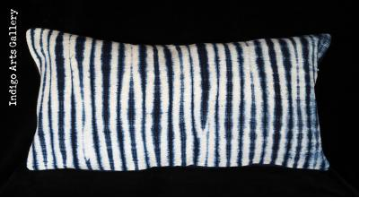 Resist-dyed Indigo Pillow from Mali