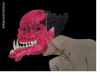 """Naked Demon - Antique """"Wayang Kulit"""" Javanese Shadow Puppet"""