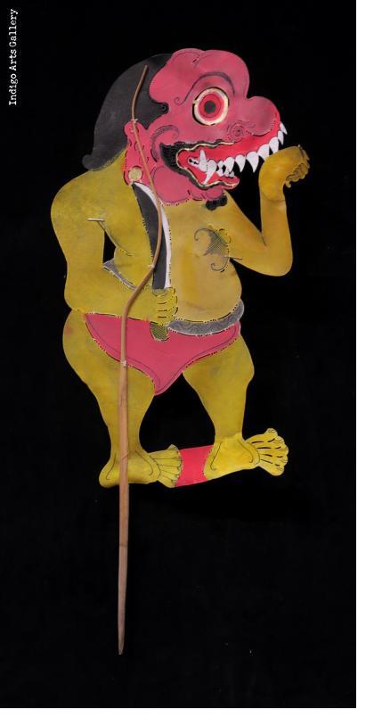 """Ogre - Vintage """"Wayang Kulit"""" Javanese Shadow Puppet"""
