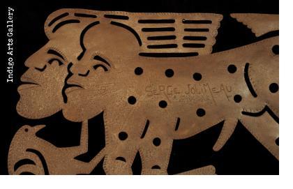 Early Jolimeau Masterpiece - Man, woman/beast with Bird