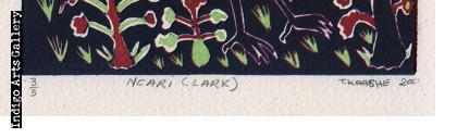 Ncari (Lark) linocut print