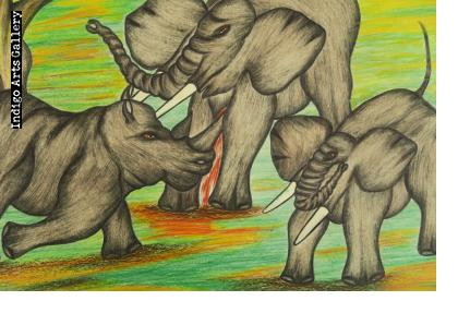 Battle of Rhinos and Elephants