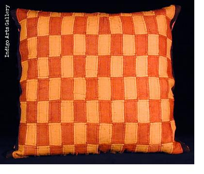 Raffia Kuba Cloth Applique Pillow