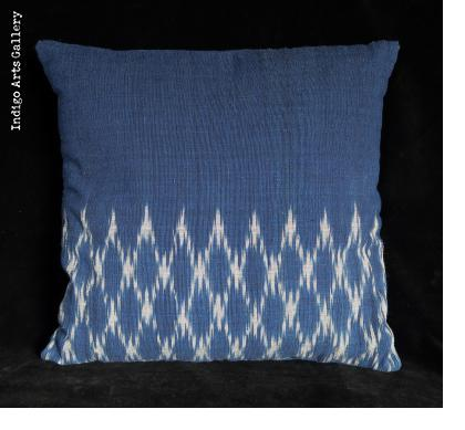 Indigo Ikat Cotton Pillow from Laos