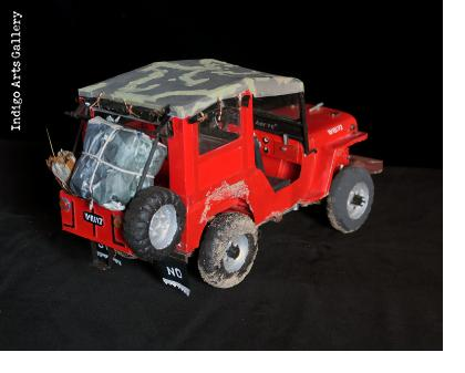 Red 1952 Willys Jeep Taxi Sculpture