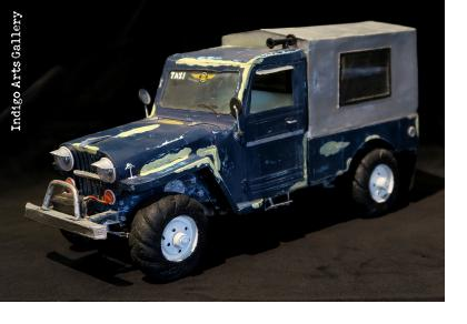 Blue Willys Jeep Taxi Sculpture