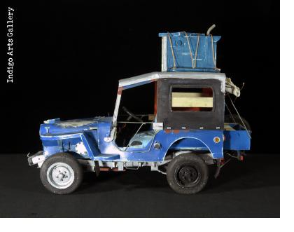 Blue Willys with a Load - Jeep Sculpture