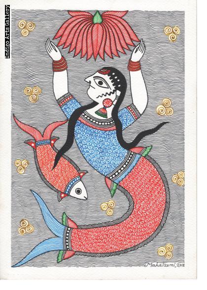 Matasya Kanya (mermaid with lotus and fish)