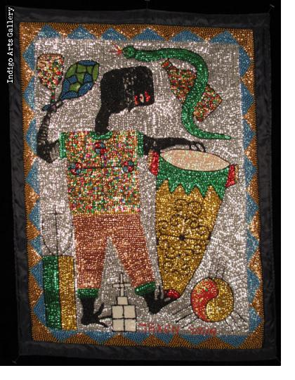 """Houngan with Drum"" Vodou Banner"