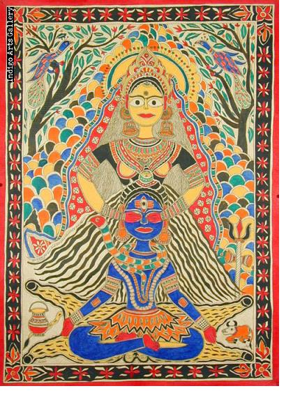 Shiva and Parvati - Mithila painting