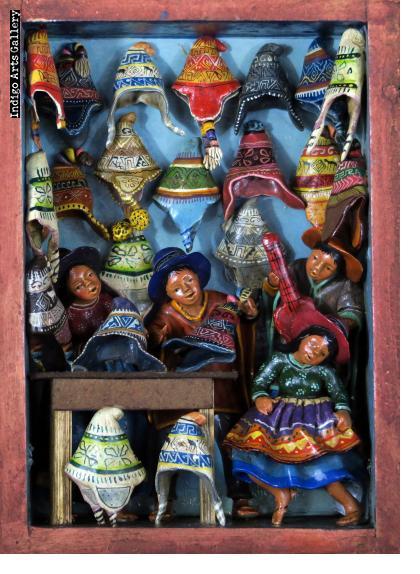 Tienda de Chullos (Andean Hat Shop) Retablo (Small)