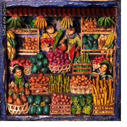 Medium Mercado de las Frutas (Fruit Market) - Retablo
