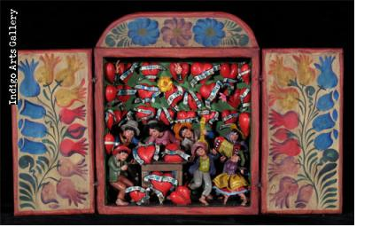 Medium Casa de Corazones (Heart Shop) - Retablo