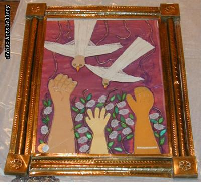 Rodolfo Morales - Birds and Hands - Collage (in frame)