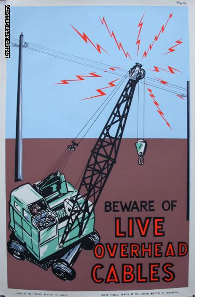 BEWARE OF LIVE OVERHEAD CABLES - Workplace Safety Poster #16