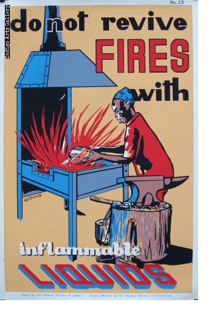 do not revive FIRES with inflammble LIQUIDS - Workplace Safety Poster #33