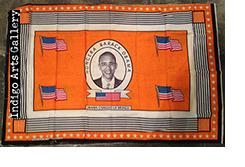 """Hongera Barack Obama"" Khanga - Orange background"