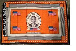"""""""Hongera Barack Obama"""" Khanga - Orange background"""