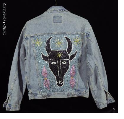 """""""Bossou"""" Sequinned Denim Jacket - Back"""
