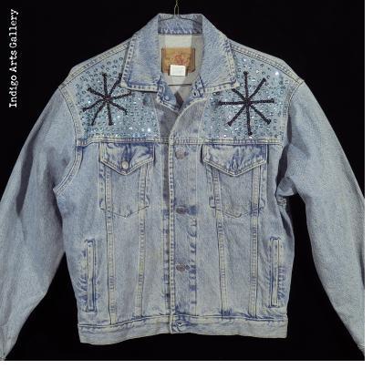 """Bossou"" Sequinned Denim Jacket - Front"