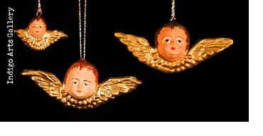 Small Painted Angel Face Ornaments