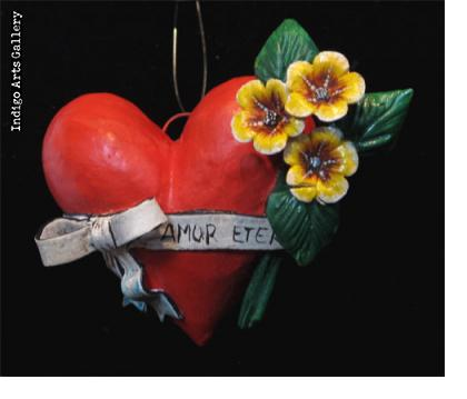 """Amor Eterno"" Retablo Heart Ornament"