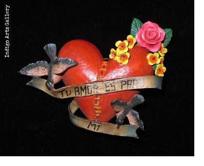 """""""Tu Amor Es Para Mi"""" Retablo Heart Ornament"""