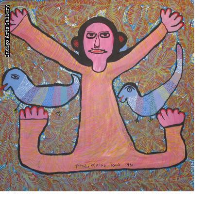 Spirit with Blue Birds - Prospere Pierre-Louis (Port-au-Prince, Haiti, 1947 - 1996)