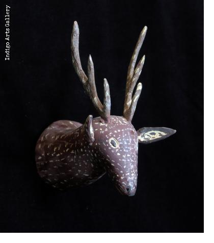 Polish Folk Art Carved Deer Head