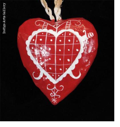 Hearts for Haiti! Papier-maché Heart Ornaments with vévé symbols of vodou spirits