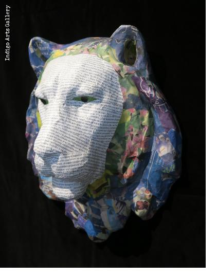 Newsprint Papier Maché Lion Trophy Head