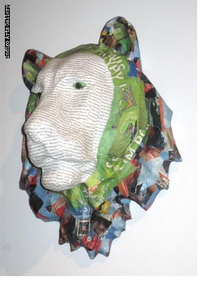 Newsprint Papier Maché Lion Trophy Head