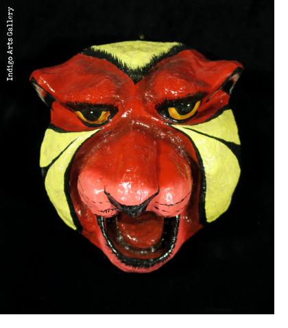 Red and Yellow Jaguar Carnival Mask