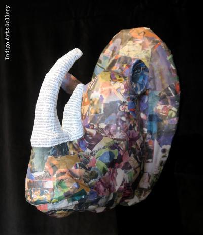 Newsprint Papier Maché Rhino Trophy Head