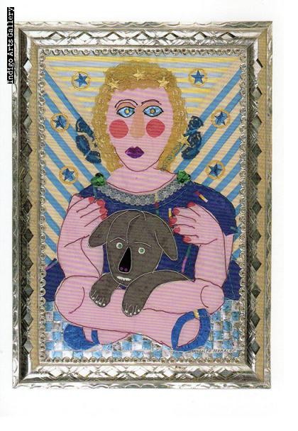 "P-11  ""Angel with a Dog""  Rodolfo Morales, 1991, collage"