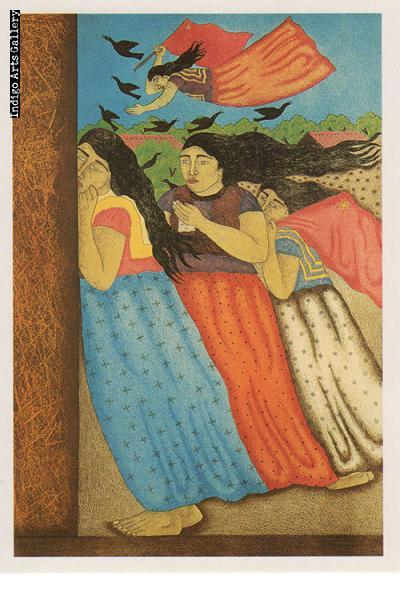 "P-25  ""Las Mujeres de Juchitan""  Fernando Olivera, 1993, aquatint."
