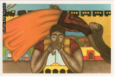 """P-64  """"Sueño (The Dream)""""  Fernando Olivera, 1996, aquatint."""