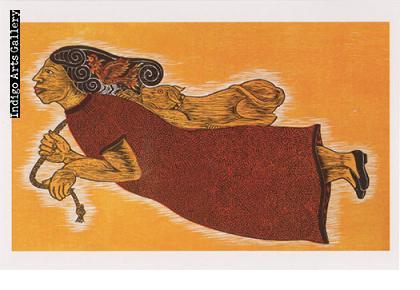"""P-99  """"Perro Jugueton""""  Enrique Flores Gonzalez, 2010, woodcut."""